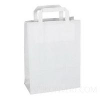 Бумажный крафт пакет с плоскими ручками, белый, 320*200*370 мм
