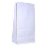 Бумажный крафт пакет без ручек с прямоугольным дном, белый, 120*80*250 мм