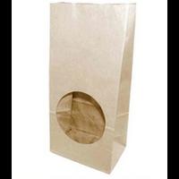 Бумажный крафт пакет с круглым окном, белый, ламинированный, 120(окно-70)*80*250 мм