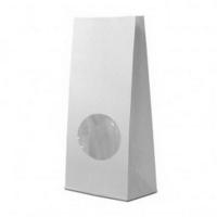 Бумажный пакет с плоским дном, 130(окно-50)*50*305 мм, белый