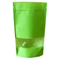 Пакет дой-пак зип-лок  зеленый с окном 40 мм, 135*40*200 мм