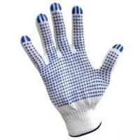 "1.Перчатки Х/Б с ПВХ 40г/пара; 10класс вязки; белые,""точка"", 4 нити"