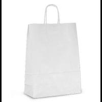 Бумажный крафт пакет с кручеными ручками, белый, 240*140*280 мм