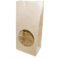 Бумажный крафт пакет без ручек с прямоугольным дном и окном, 120*80*250 мм